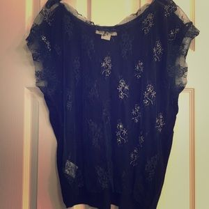Gorgeous lace beaded Urban Outfitters navy top